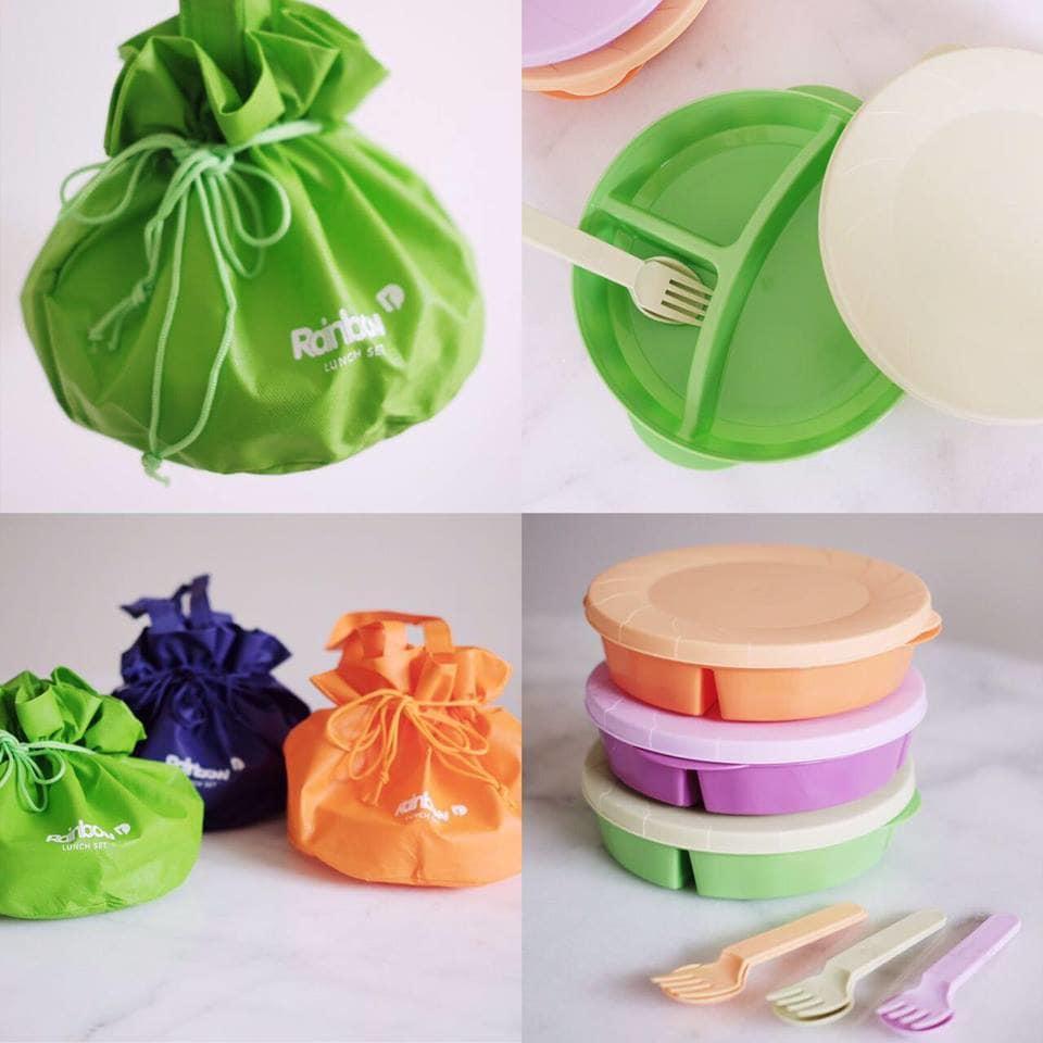 Jual Kotak Makan Lunch Box Murah 1 Set 3pcs Free Tas Kain Toples Snack