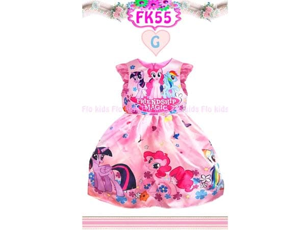 Dress My Little Pony Friendship Magic Gaun Pesta Anak Warna Pink Satin - Blanja.com