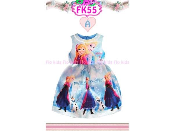 Dress Frozen Anna Elsa WArna Biru Gaun Pesta Anak Bahan Satin Kalung