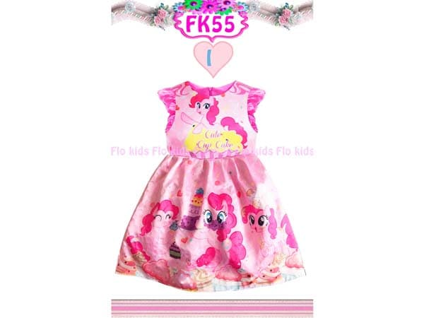 Dress My Little Pony Warna Pink Bahan Satin Gaun Pesta anak Warna Pink - Blanja.com