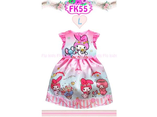 Dress My Melody Warna Pink Bahan Satin Gaun Pesta Anak Perempuan Impor - Blanja.com