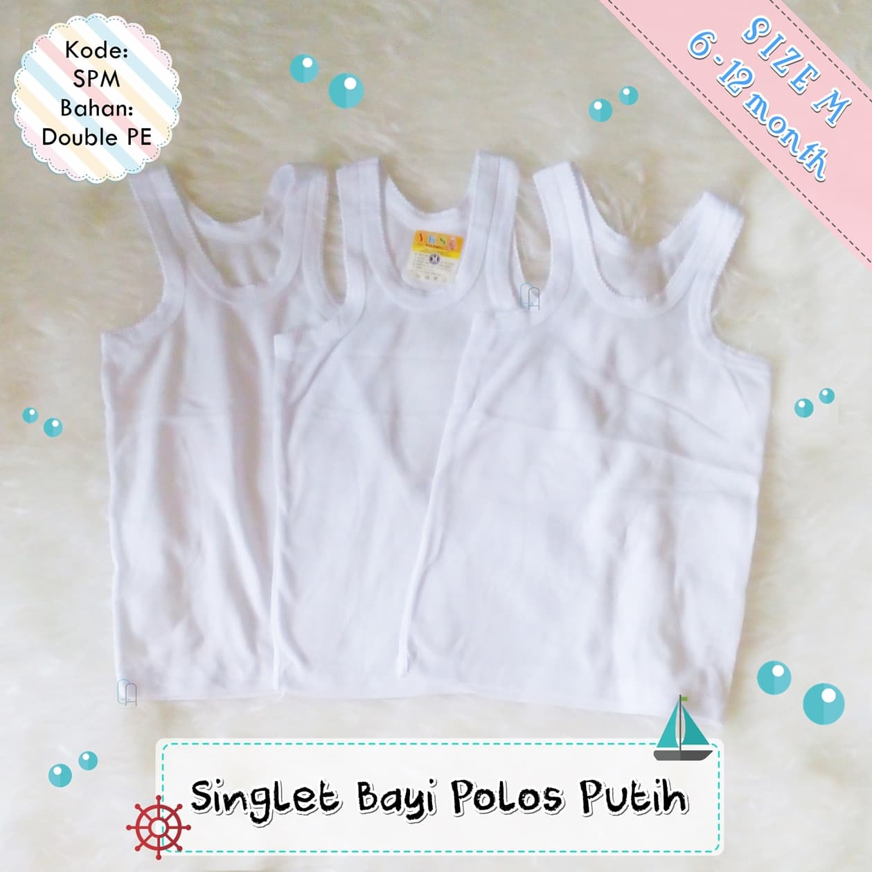 Jual Singlet Bayi Newborn Putih Polos Size M Ndal Setelan Baju Bola Terlaris