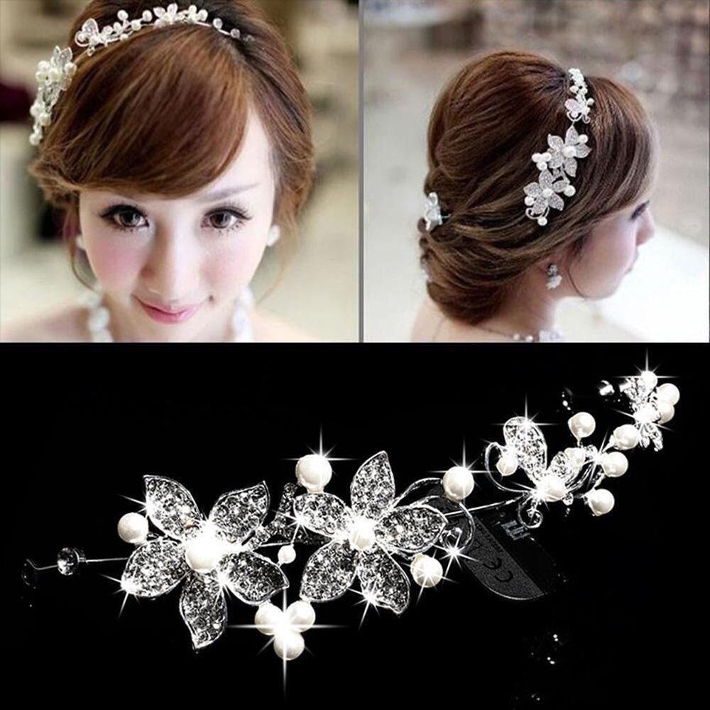 headpiece bunga hiasan sanggul headband rambut pengantin thumbnail