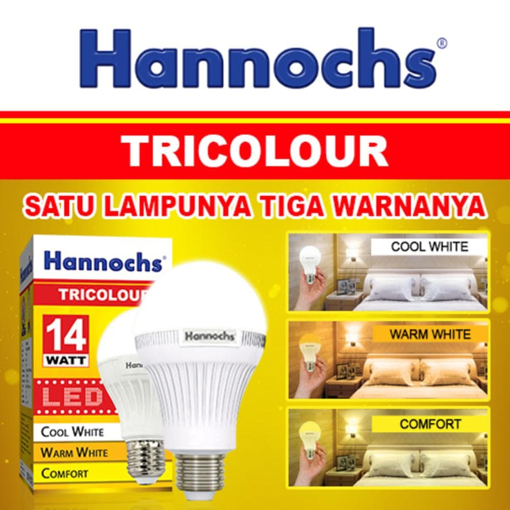 Jual Lampu Led Hannochs 14w 14 Watt Tricolor 3 Warna Puncak Premier Sejahtera Tokopedia