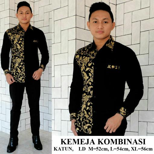 Jual Kemeja Batik Hitam Gold Kombinasi Polos Blanja Com