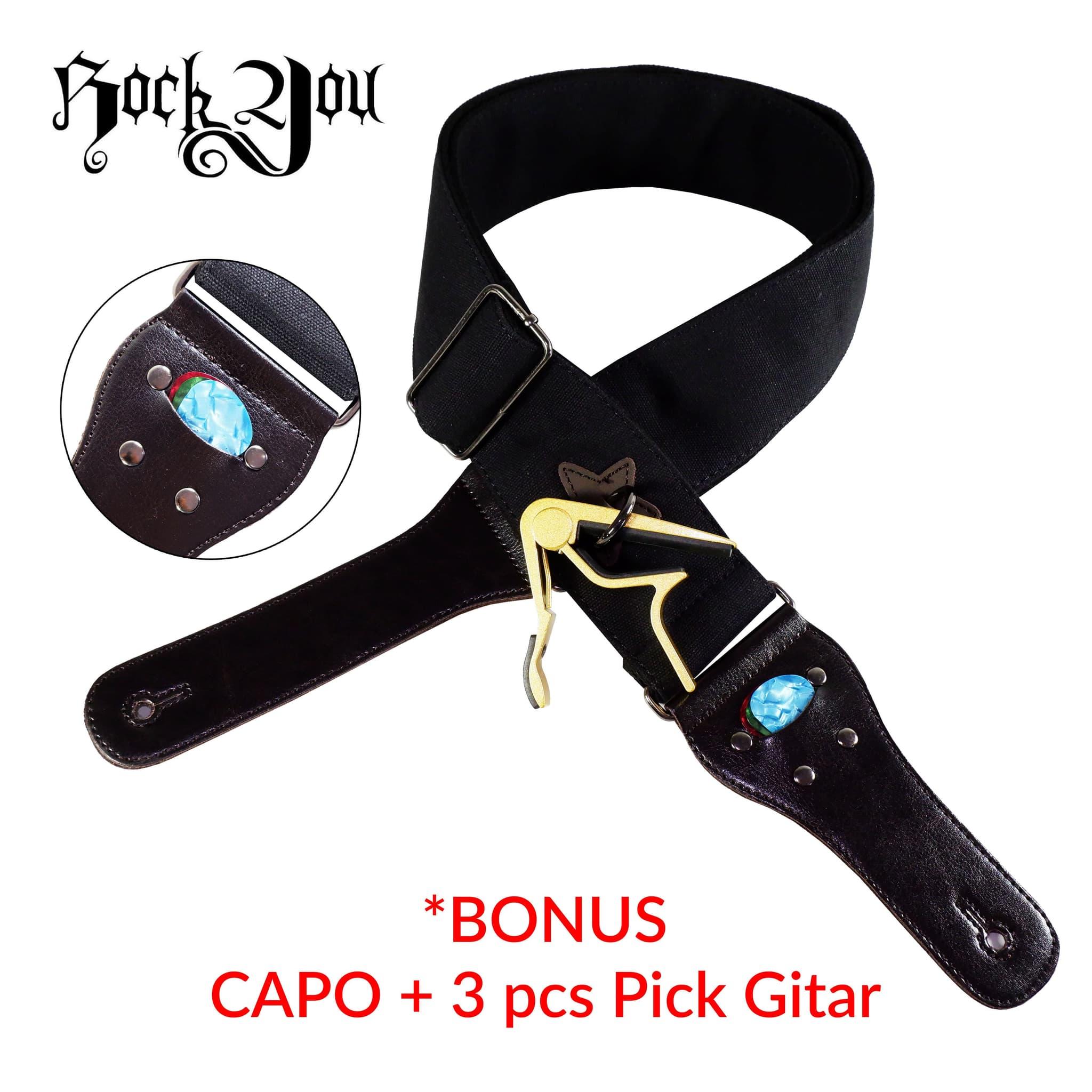Strap Gitar Bonus Capo & Pick (3 pcs) Rock You S - 650H Tali Sabuk Gitar