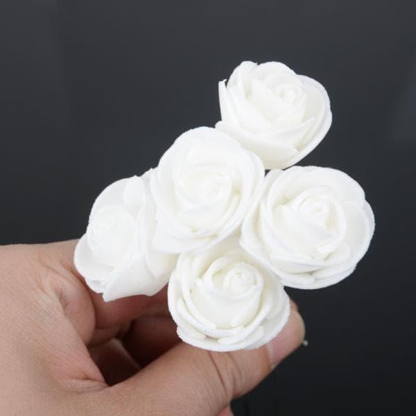 Hiasan Rambut Sanggul Tusuk Konde Bunga Mawar Wild Rose Putih thumbnail