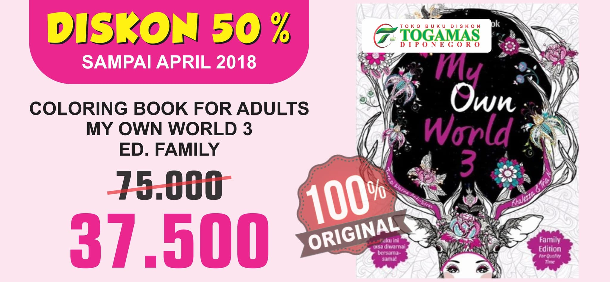 Jual COLORING BOOK FOR ADULTS MY OWN WORLD 3 ED FAMILY