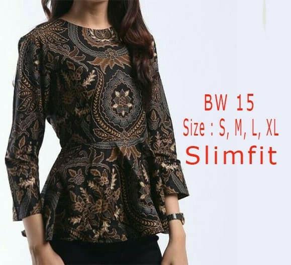 Jual Blouse Batik Wanita Modern Unik Baju Batik Bw15 Cokelat Tua