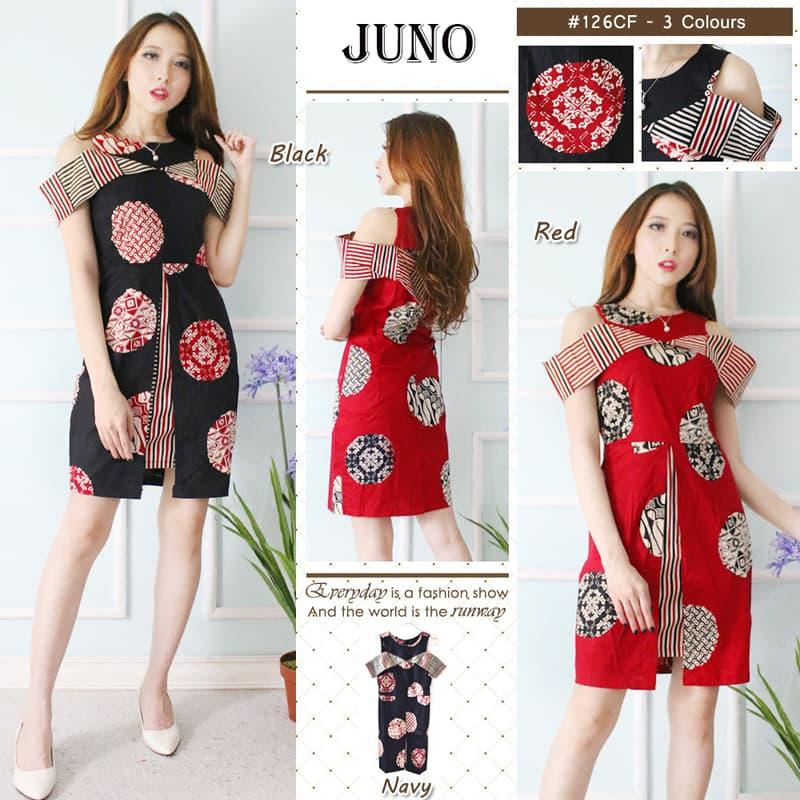 JUNO STANDAR- DRESS Batik Modern GAUN Batik Baju Cheongsam Murah