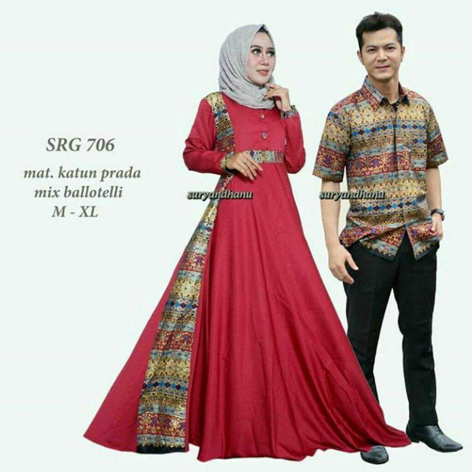 Couple Batik Prada Gamis Payung Exclusive