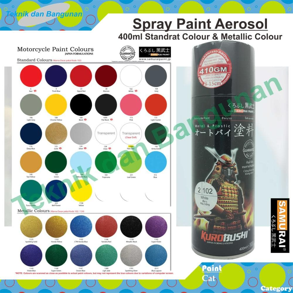 Cat Semprot/aerosol Paint Samurai 400ml (Standrat & Metallic Colour) - Blanja.