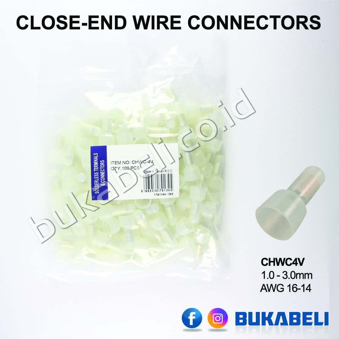 harga Topi Kabel - Close - End Wire Conctr 1.0 - 3.0mm (awg 16 - 14) Blanja.com