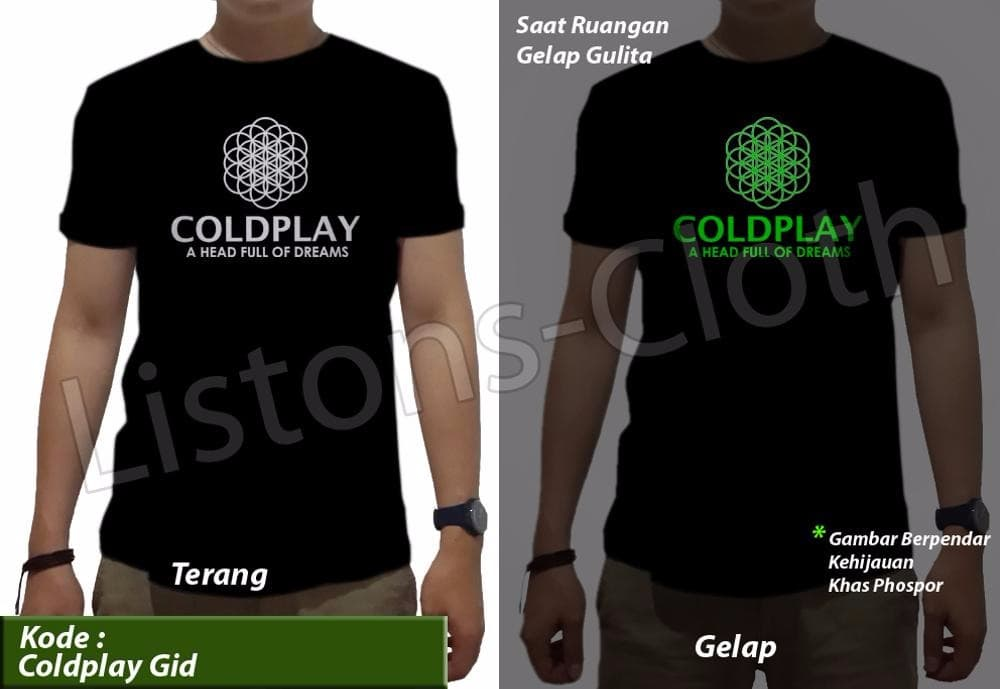 05c9312a0 DISKON Promo kaos distro coldplay glow in the dark gid band musik t shirt pr