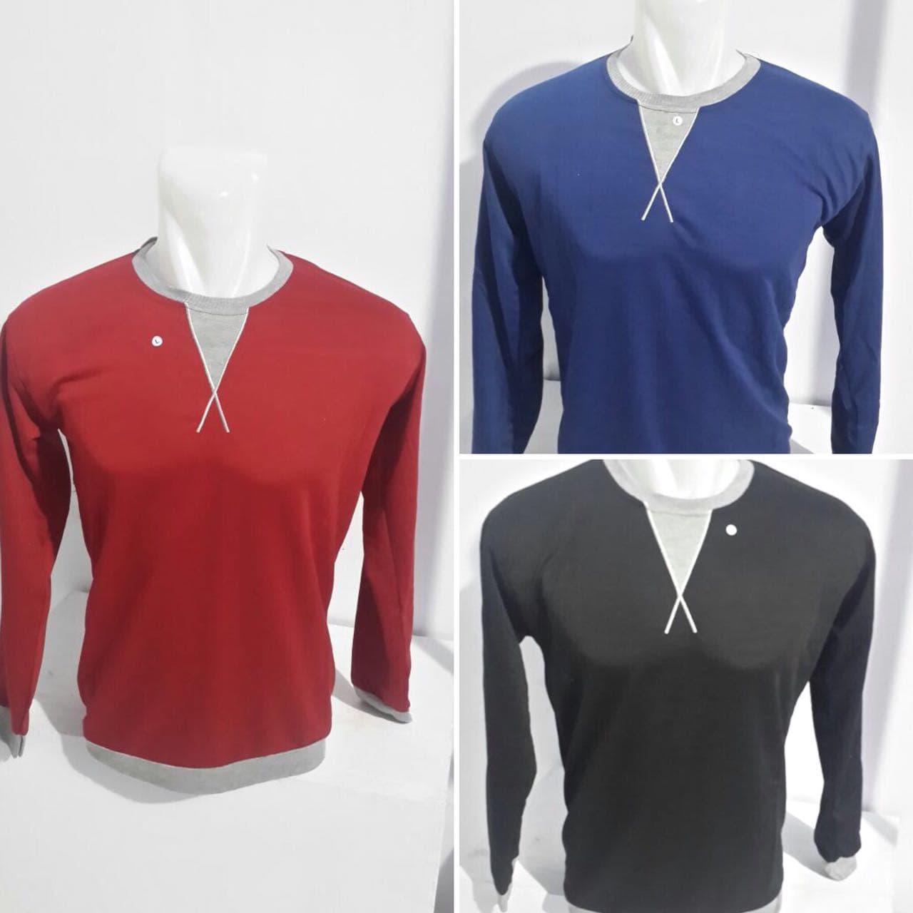 Jual Kaos Polos Bordir Krah Kombinasi Lengan Panjang Hitam Katun Produk Ukm Bumn Tas Phiton Coklat Krem M Blanja