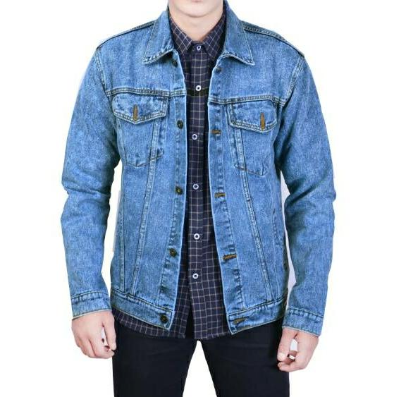 Jaket Jeans Slim Fit Sandwash Biru Muda Original - Blanja.com