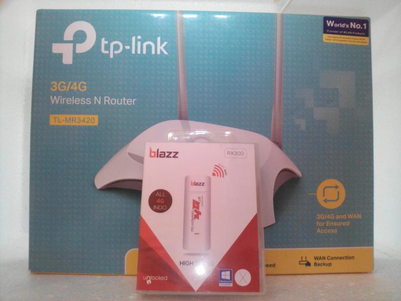 PAKET Wireless N Router TL - MR3420 dengan Modem USB 4G All Operator