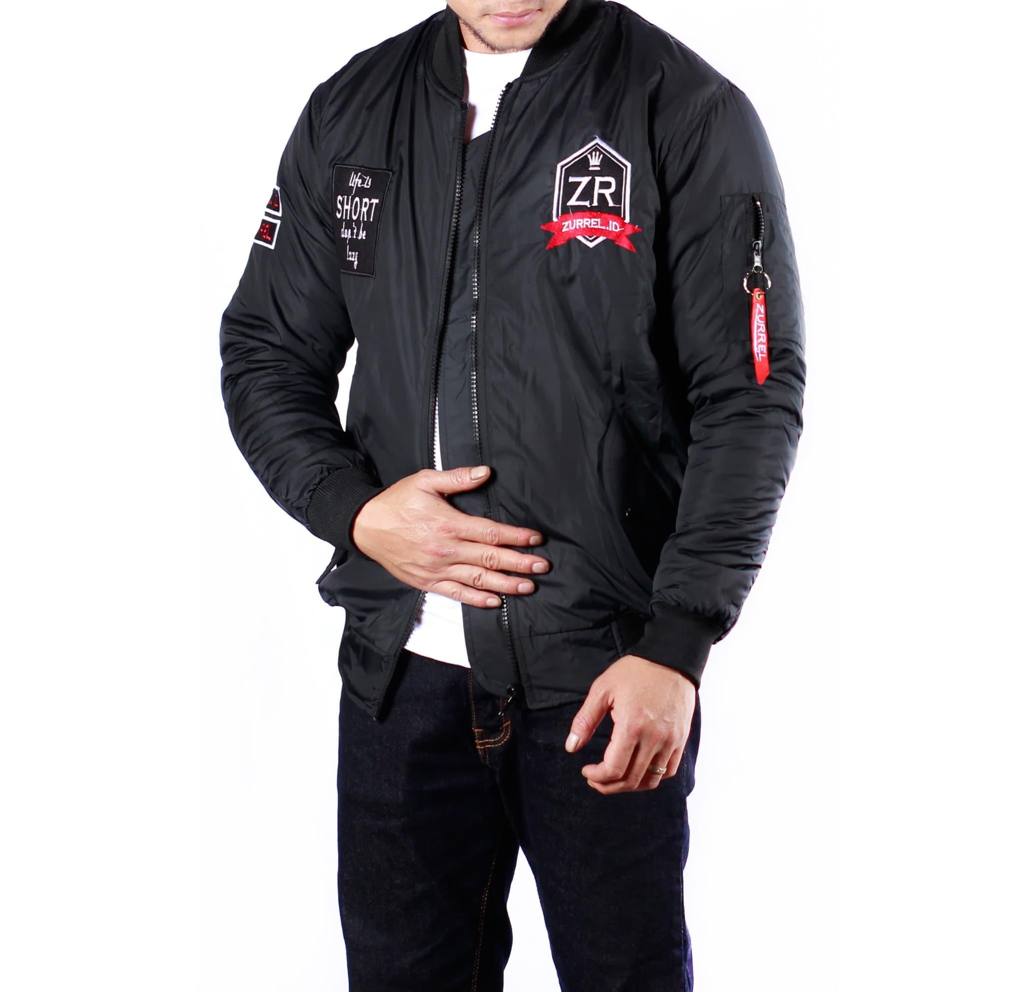 Jual Jaket Bomber Zurrel King Black Baseball Karlit Fleece Button