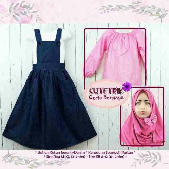 Beli Set Fashion Baju Muslim Anak Perempuan Gamis Overall Cutetrik