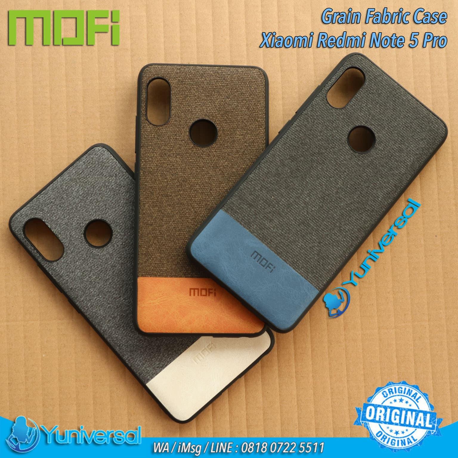 new style 19b50 7f119 Mofi Redmi Note 5 Pro Fabric Grain Case Xiaomi Ultrahin Original - Black  Blue