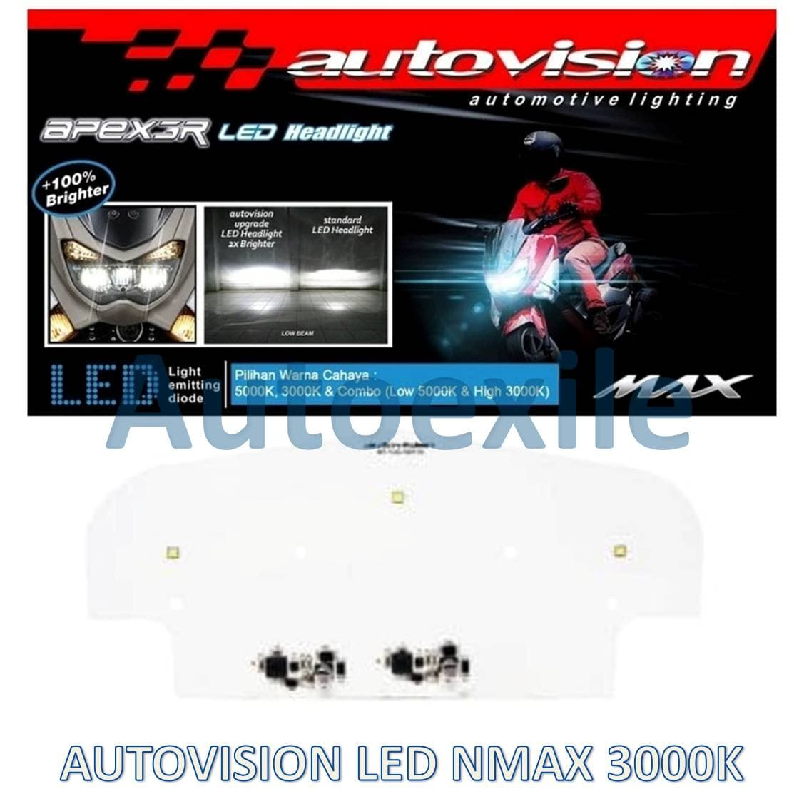 Autovision Apex3r LED Lampu NMax Cahaya Kuning Low 3000K High 3000K