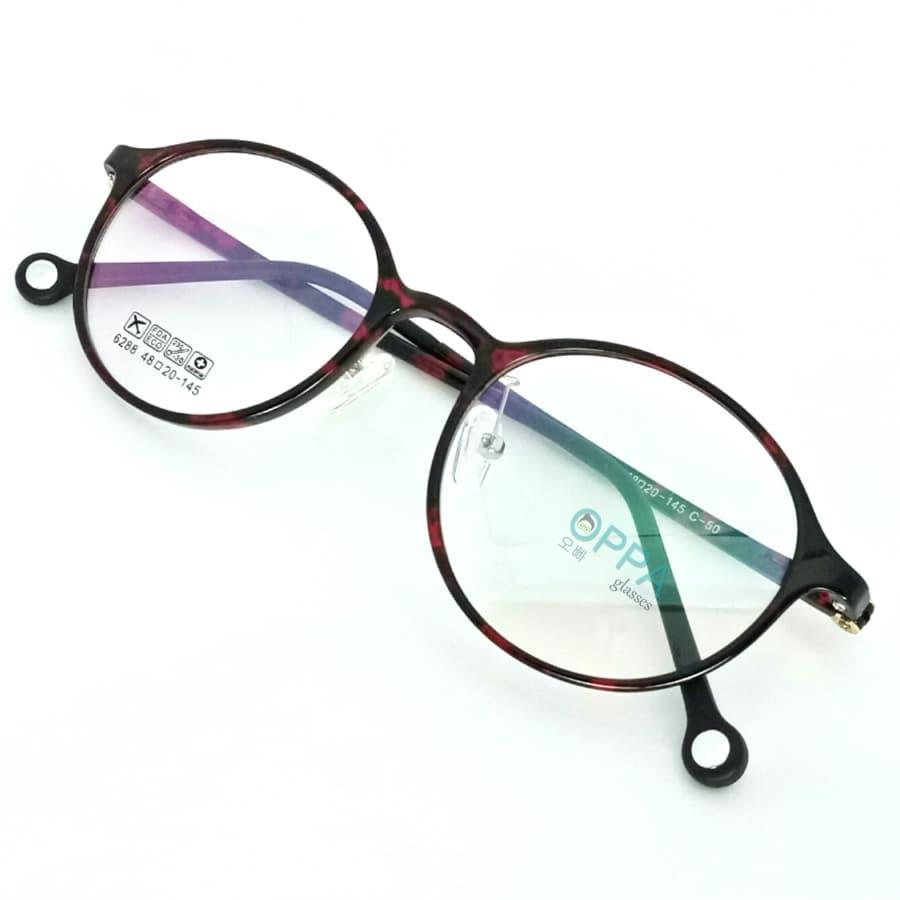 Jual Frame Kacamata Korea Pria Wanita Oppa Op34 Rdbl Merah Bulat Transparant Minus