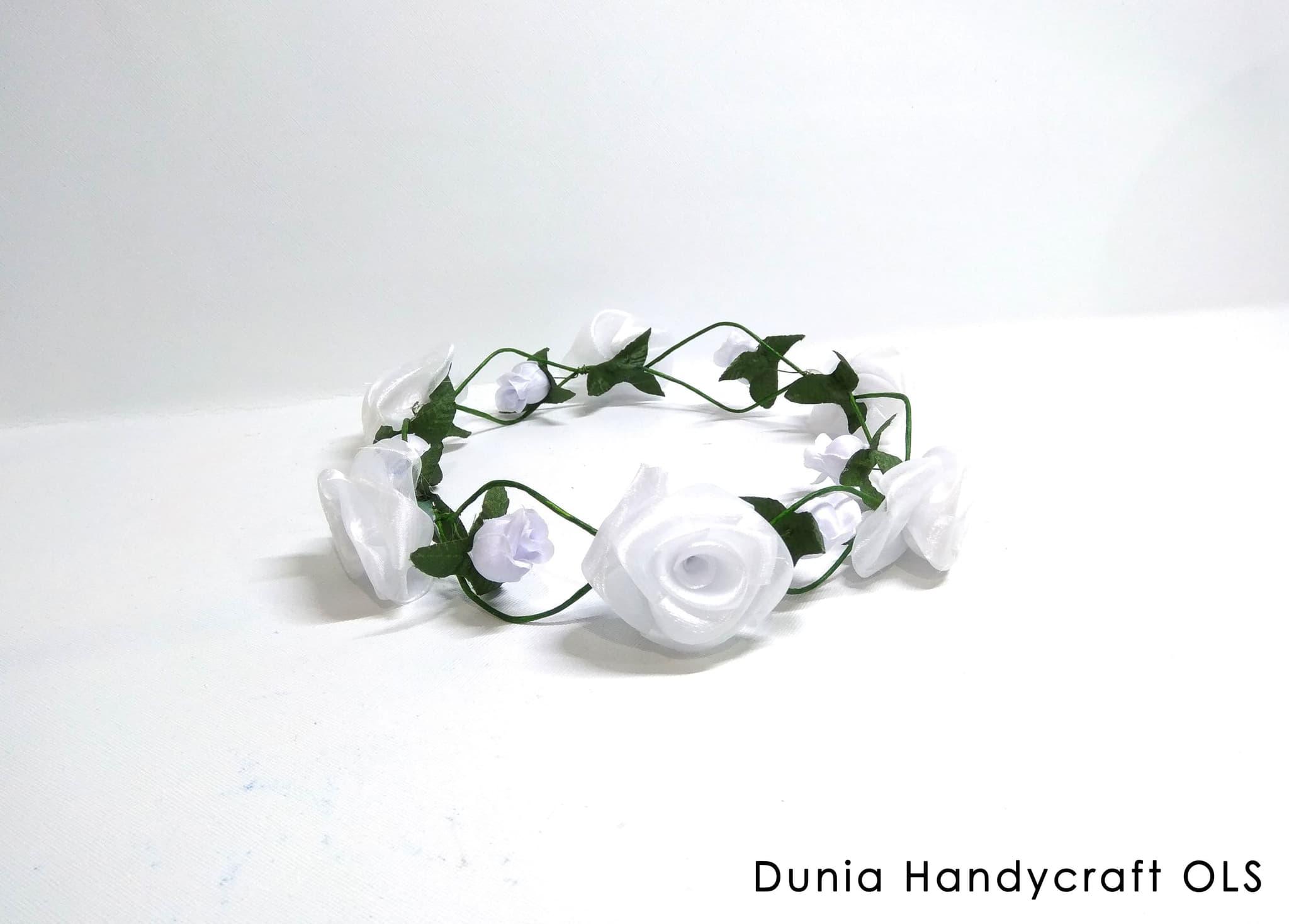 Flower Crown Mawar Chiffon Putih - Headpiece - Bando Bunga thumbnail