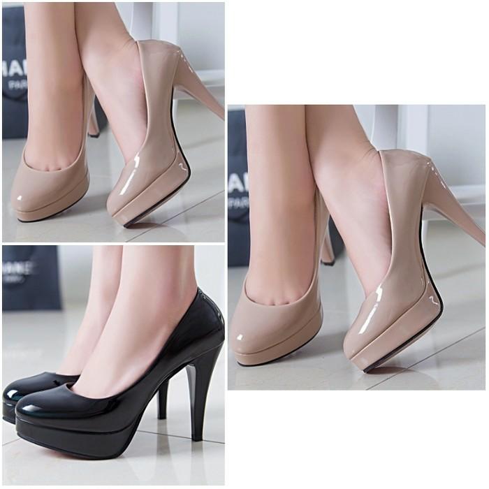 Jual heels high heel hitam sepatu kantor wanita murah 7cm - Hitam ... 05b67189c1