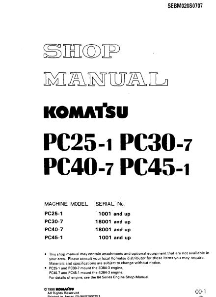 komatsu pc25 1 pc30 7 pc40 7 pc45 1