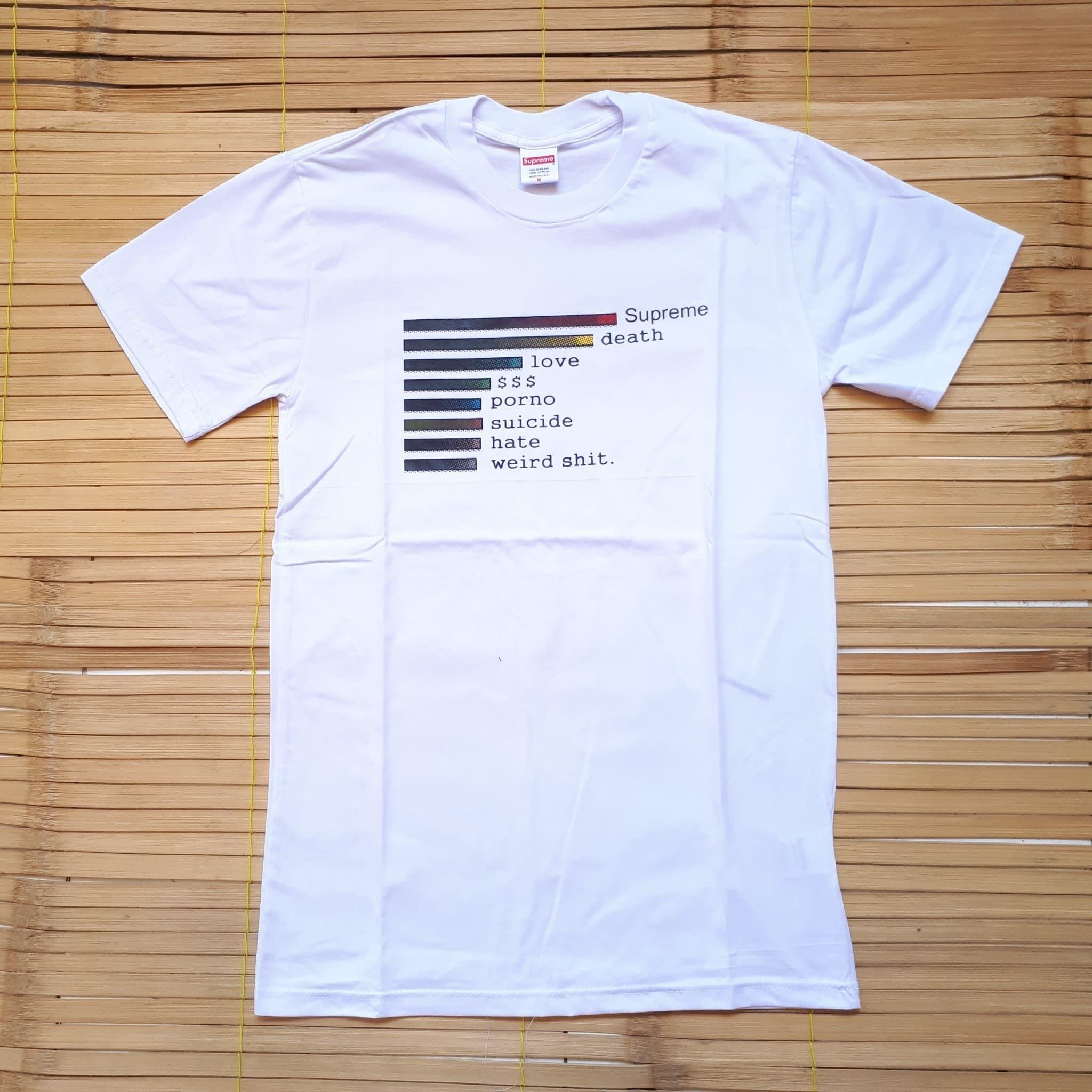KAOS T SHIRT SUPREME CHART WHITE PREMIUM