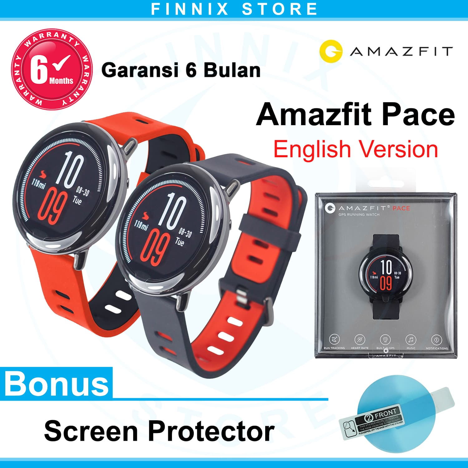Xiaomi Amazfit Smartwatch International Version With Gps And Heart Huami Cor Hitam Jual Pace English Merah Finnix Store
