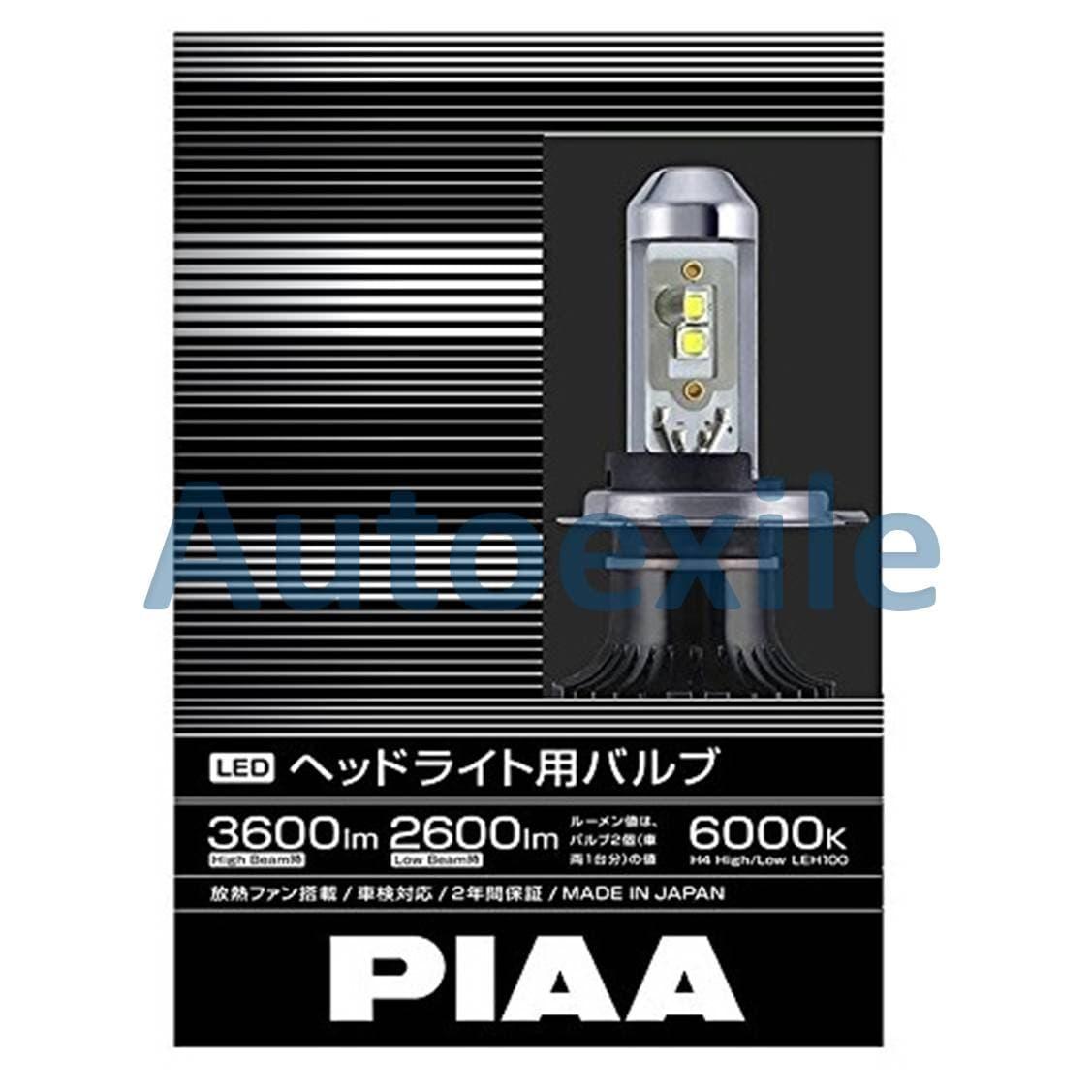 PIAA LEH100 LED H4 9003 12V 23W 6000K Putih Made in Japan Lampu Mobil