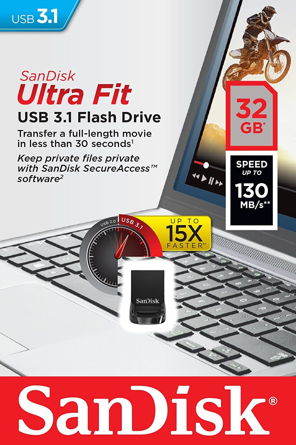 Sandisk Cruzer Ultra Fit CZ430 32GB USB 3.1