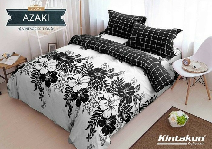 jual bedcover set kintakun azaki no 1 king 180 bed bad cover hitam