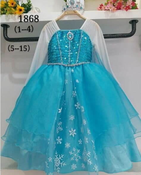 Baju Anak Dress Kostum Frozen Elsa (08) + Mahkota Cantik - Blanja.com