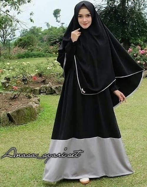 Jual Gamis Hitam Maxi Dress Polos Baju Maxy Muslimah Elegan Syar I