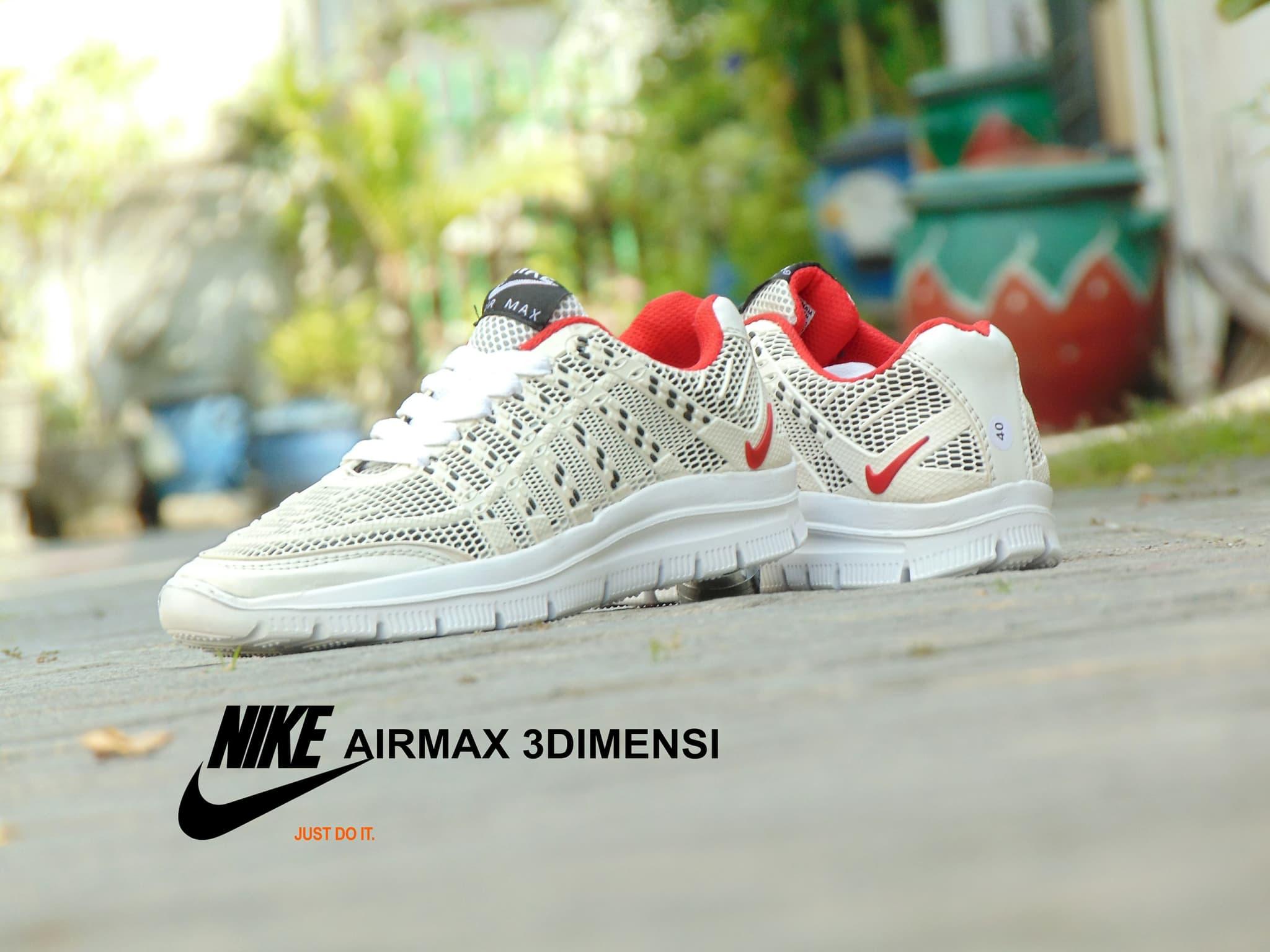 Jual Sepatu Nike Airmax 3D Skin Full White Putih Sport Casual Pria wanita RINDU ORDER