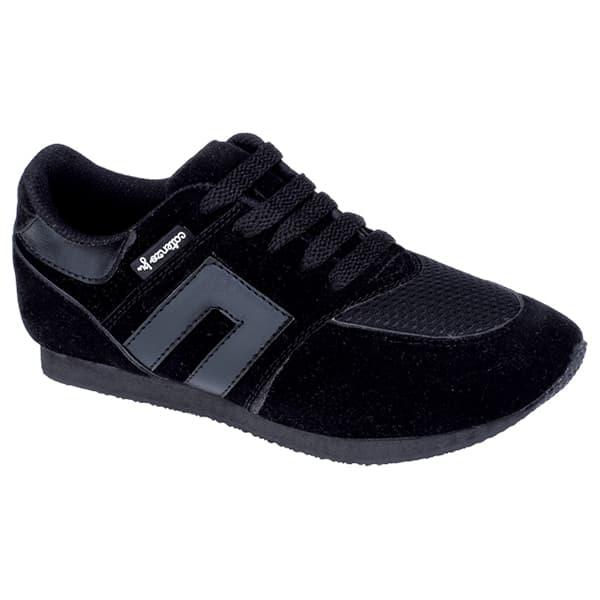 Sepatu Anak Perempuan Sneakers Sekolah Sport Hitam Polos, Cjr19 142