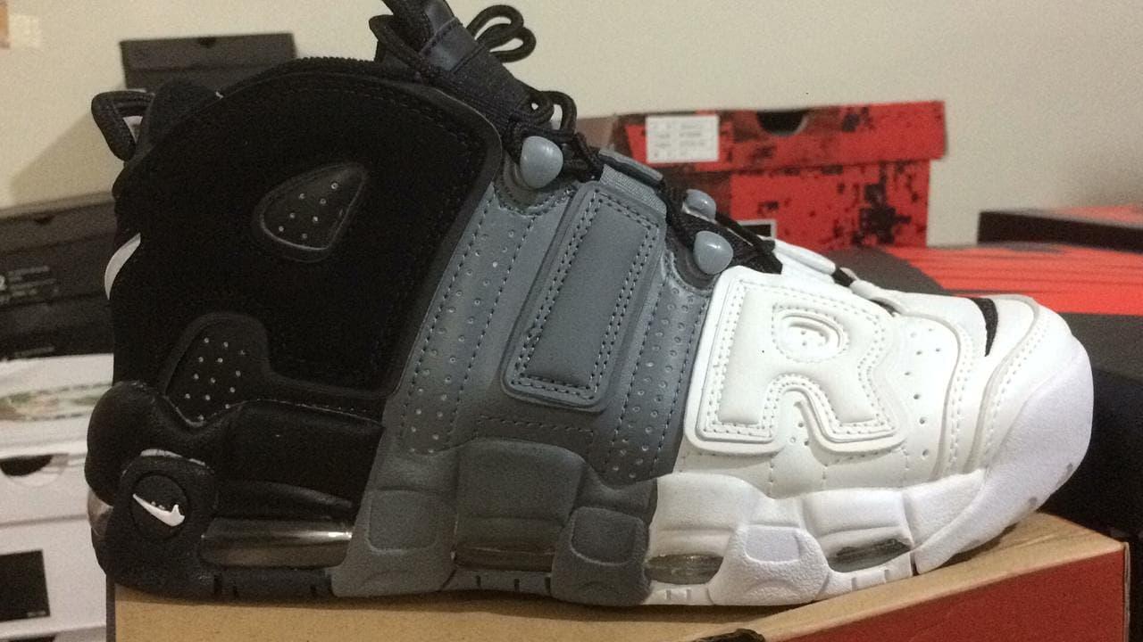 23da1051937 Jual Sepatu Basket Nike Uptiempo Black Grey White