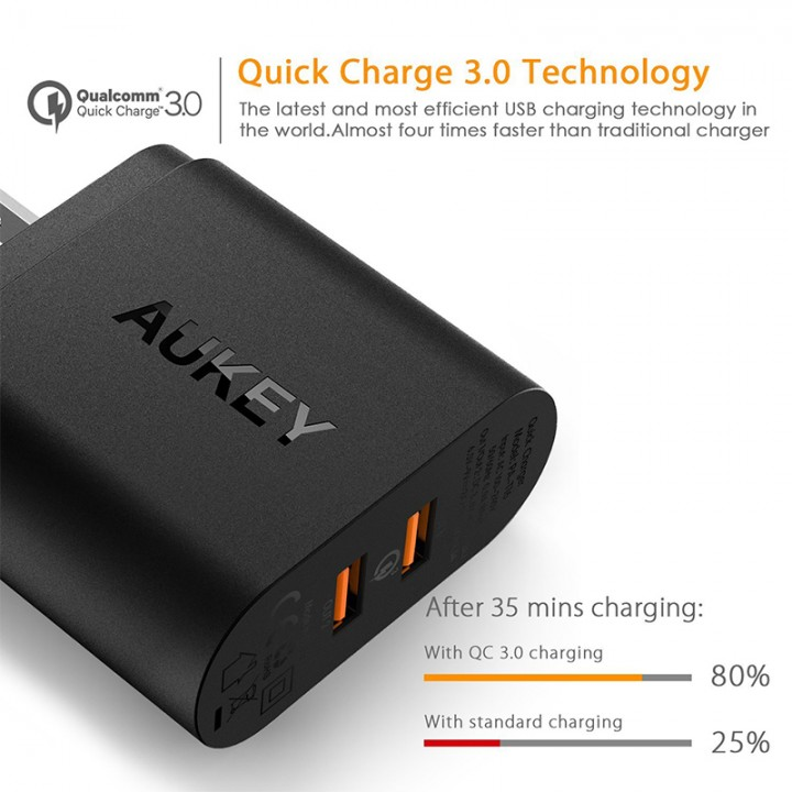 Original AUKEY PA - T16 USB Wall Charger 36W 2 Port USB Quick Charge 3.0