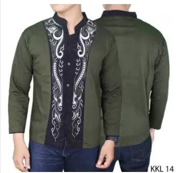 Gudang Fashion - Kemeja Koko Modern Panjang - Hijau Lumut - Hijau Tosca, L