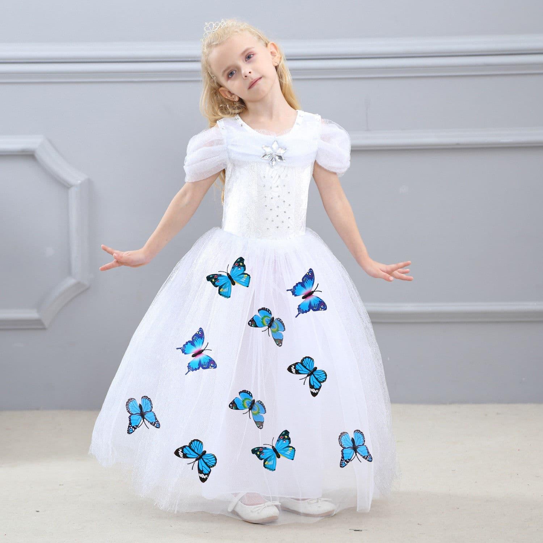 Dress Baju Kostum Gaun Princess Putri Cinderella Putih Tangan Pendek