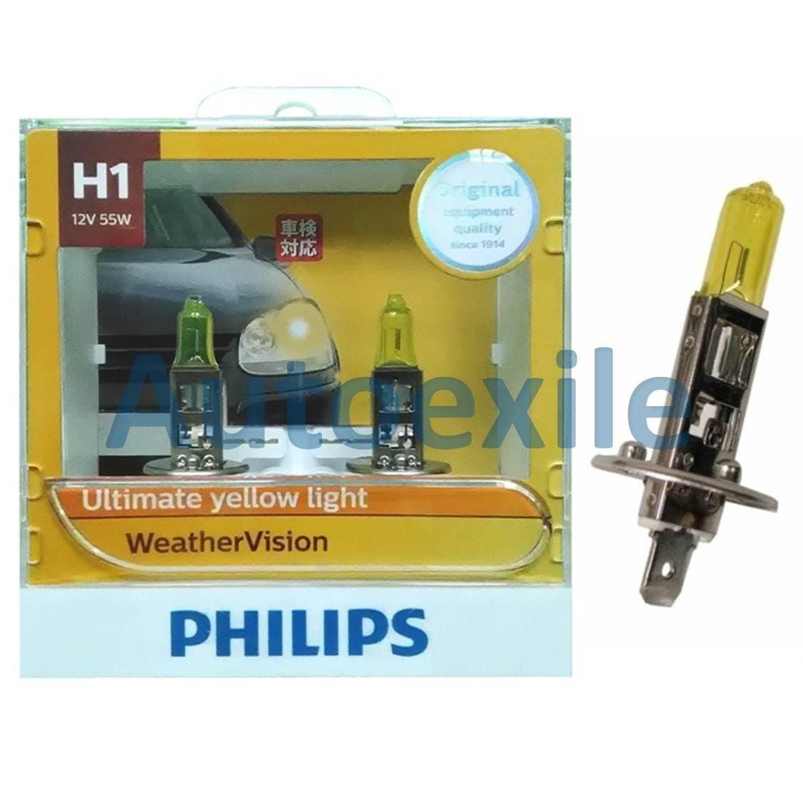Philips New Weather Vision H1 12V 55W 2900K Lampu Depan Kuning Mobil