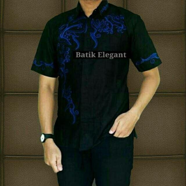 Baju Batik Kemeja Cowok Kemeja Batik Elegant Hem Lengan Pendek - Blanja.com