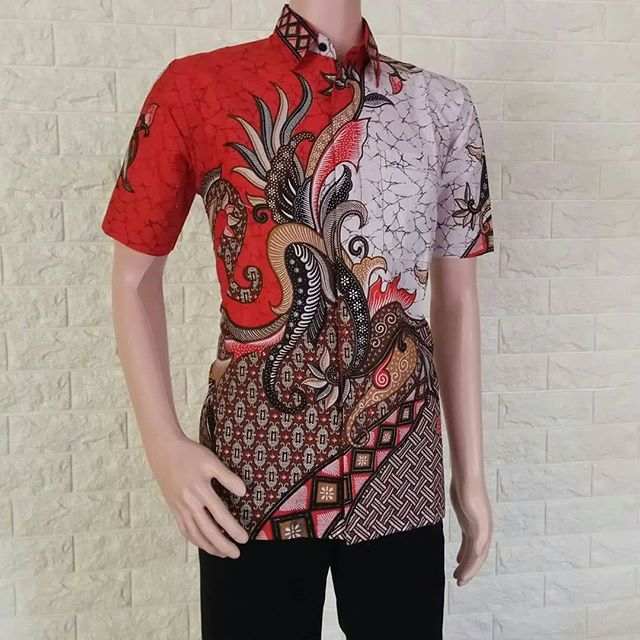 Baju Batik Kemeja Cowok Kemeja Batik Kembang Naga Hem Lengan Pendek - Blanja.com