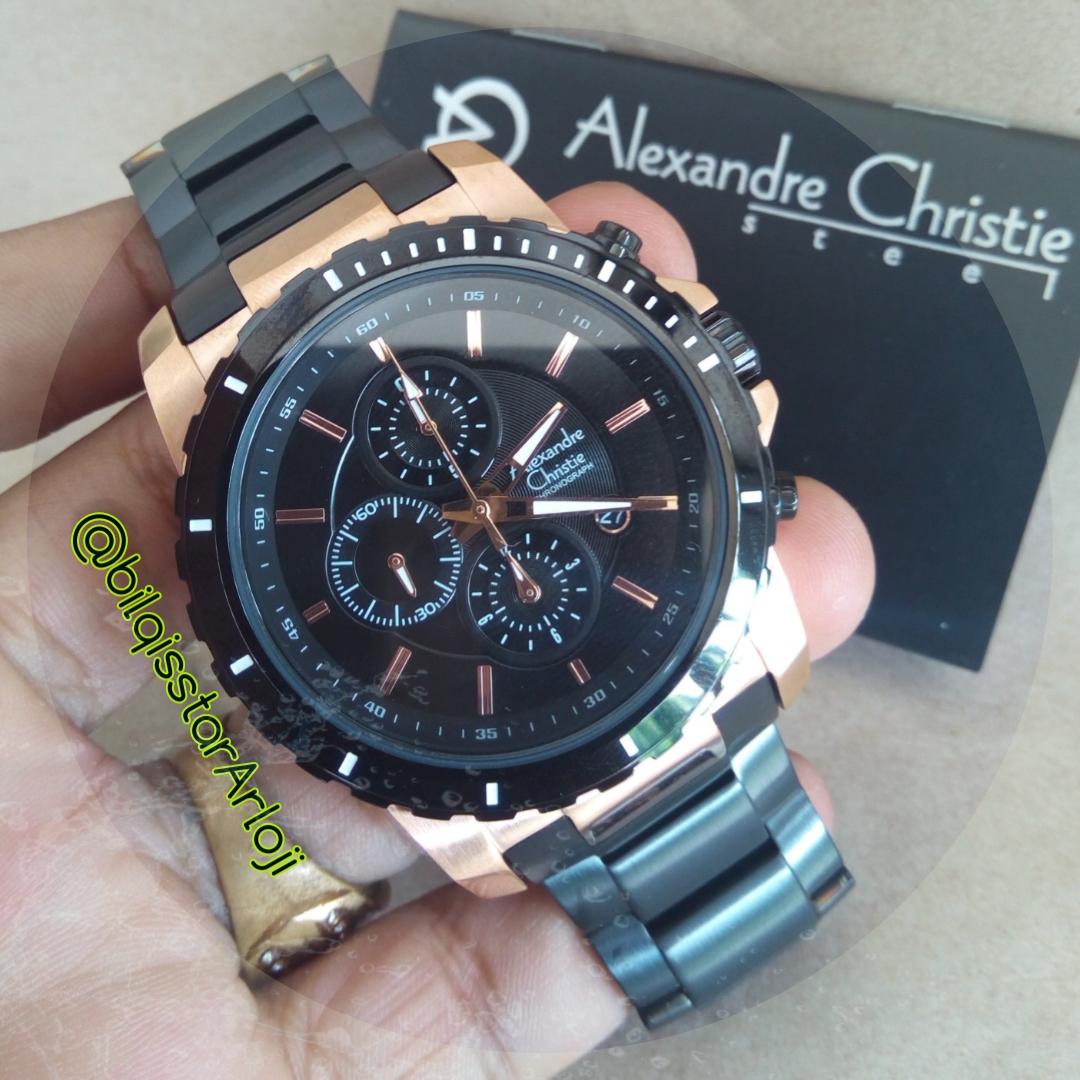 Jual Alexandre Christie 6141 Mc Black Rose Gold Original Full Bilqisstar Shop Tokopedia