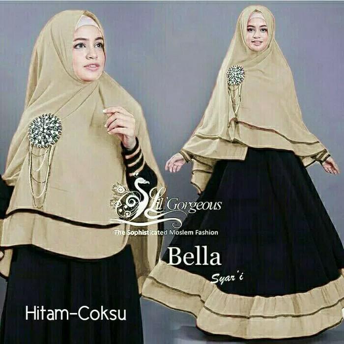 Gamis New Bella Syari Dress Lebaran Wanita Muslim Murah Hitam Coksu - Maroon