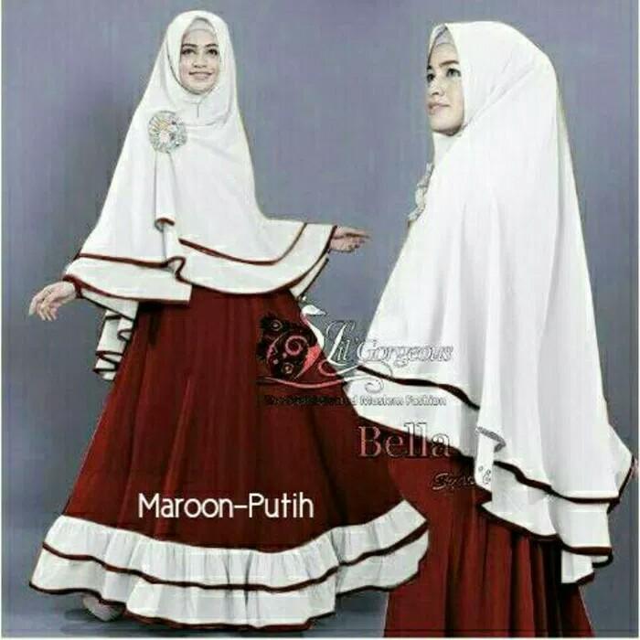 Gamis New Bella Syari Dress Lebaran Wanita Muslim Murah Putih Maroon - Maroon