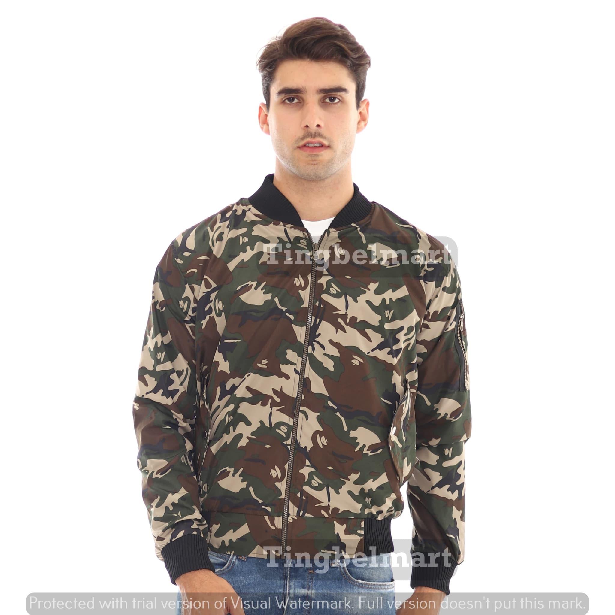 harga Jaket Bomber Loreng Militer Lengan Panjang Pria Premium - Coklat Hijau - Hijau Tua, L Blanja.com