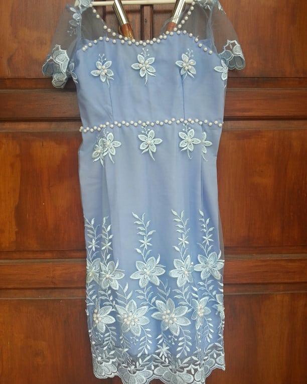 Jual Dress brokat lace biru mote manik new jahit d pnjahit djual krn ... 6b6ad5deef